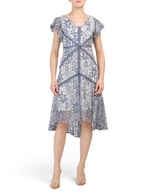 TAYLOR Petite Printed Lace Dress With Flutter Slee