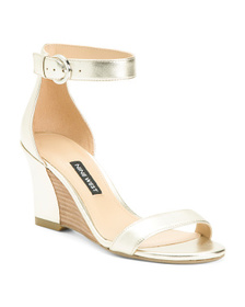 NINE WEST Ankle Strap Leather Wedge Sandals