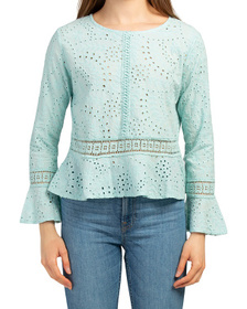 Made In Italy Eyelet Chic Blouse