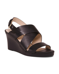 All Day Comfort Leather Wedge Sandals