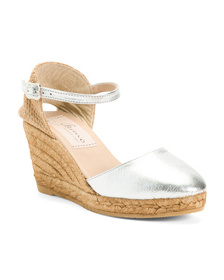 GAIMO Made In Spain Leather Wedge Espadrilles