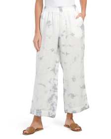 C&C CALIFORNIA Tie Dye Cropped Pull On Linen Pants