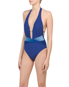KENNETH COLE Halter Plunge One-piece Swimsuit