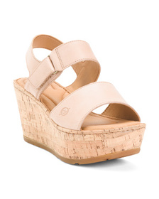 BORN Leather Comfort Wedge Sandals