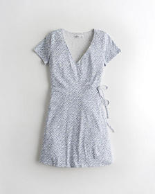 Hollister Cap-Sleeve Wrap Dress, LIGHT BLUE PATTER