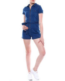 Bebe denim zip front romper w/belt
