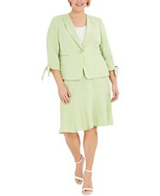 Plus Size One-Button Tie-Sleeve Jacket and Skirt S