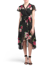 BETSEY JOHNSON Petite Floral Wrap Style Dress With