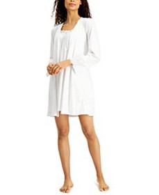 Lace & Eyelet Nightgown & Robe Set, Created for Ma