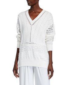See by Chloe Knit Lace V-Neck Sweater