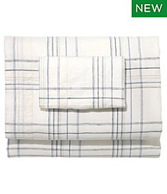 LL Bean Sunwashed Linen Sheet Collection, Plaid