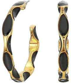 Kenneth Jay Lane Gold with Black Enamel Spots Post
