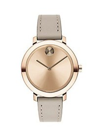 Movado Bold Stainless Steel & Leather-Strap Watch