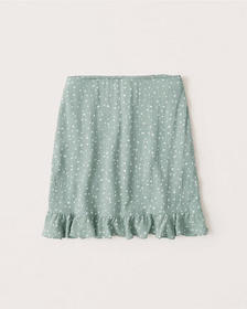Ruffle Hem Mini Skirt, MINT GREEN DOT