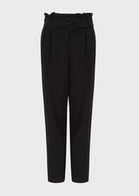 Armani Cady crepe trousers with pleats and belt