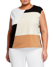CALVIN KLEIN Plus Size Colorblock Sleeveless Top