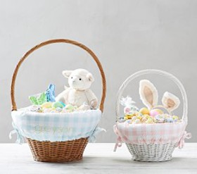 Pottery Barn Large Scale Gingham Easter Basket Lin
