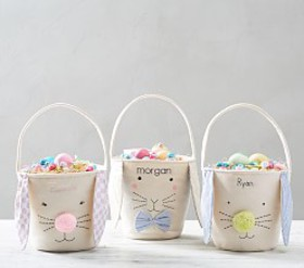 Pottery Barn Canvas Bunny Easter Treat Buckets
