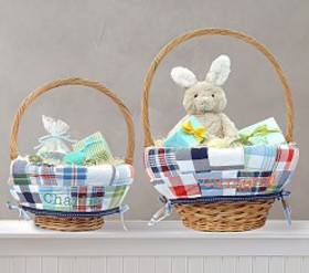 Pottery Barn Madras Easter Basket Liner