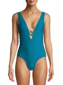 XOXO Deep Plunge Lace-up Detail One Piece Swimsuit