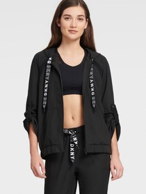 Donna Karan BOXY HOODIE WITH MESH INSERTS