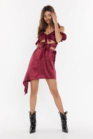 Nasty Gal Raspberry Hammered Satin Co-ord Skirt