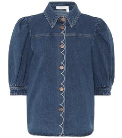 See By Chloé Embroidered denim blouse