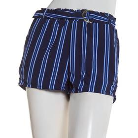 Juniors No Comment Twill Crepe Belted Stripe Short