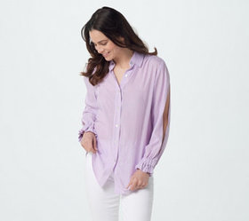 Attitudes by Renee Split Sleeve Button Front Woven