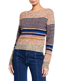 See by Chloe Striped Wool-Blend Crewneck Sweater
