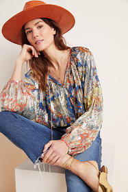 Anthropologie Stephania Shimmer Peasant Blouse