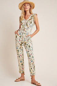 Anthropologie Violet Ruffled Utility Jumpsuit