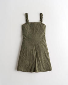Hollister Eyelet Mini Dress, OLIVE