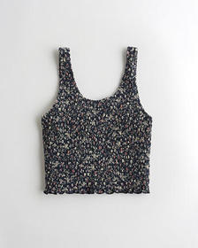 Hollister Smocked Tank, NAVY PATTERN