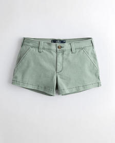 "Hollister Stretch Mid-Rise Twill Short 3"", OLIVE G"