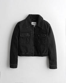 Hollister Stretch Crop Denim Jacket, BLACK
