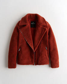 Hollister Cozy Sherpa Biker Jacket, RUST