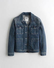 Hollister Stretch Denim Utility Jacket, MEDIUM