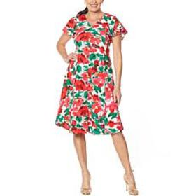 """As Is"" Nina Leonard V-Neck Button-Front Midi Dres"