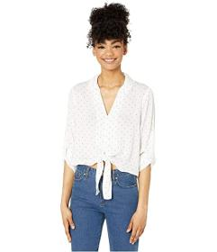 BCBGeneration Tie Front Roll Sleeve Top - TQI11864