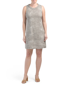 Made In Italy Linen Embroidered Shift Dress