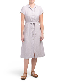 C&C CALIFORNIA Linen Roll Cuff Midi Dress