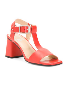 MALO Leather T Strap Heeled Sandals