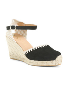 Embroidered Espadrille Wedge Sandals