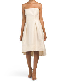 ALFRED SUNG Strapless Hi-lo Cocktail Dress With Po