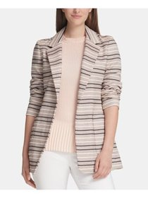 DKNY Womens White Striped Blazer Wear To Work Jack