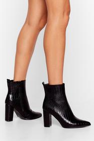 Nasty Gal Black Croc and Stare Faux Leather Heeled