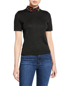 Alice + Olivia Aster Short-Sleeve Collared Pullove