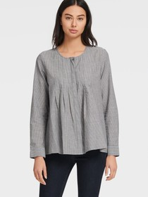 Donna Karan LONG SLEEVE BUTTON THROUGH PEASANT BLO