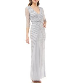 JS Collections Beaded Draped Surplice V-Neck 3/4 S